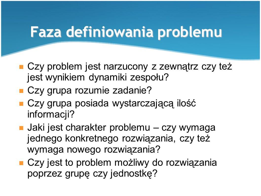 Faza definiowania problemu Czy problem jest narzucony z zewnątrz czy też jest wynikiem dynamiki zespołu? Czy grupa rozumie zadanie? Czy grupa posiada