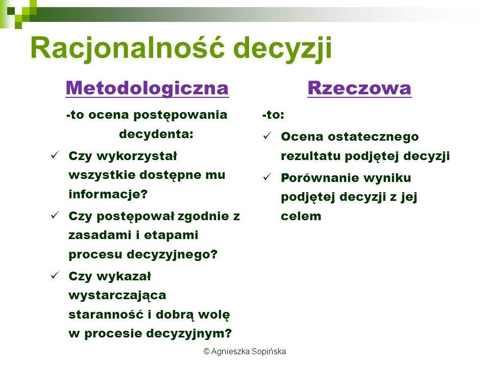 Racjonalność decyzji Metodologiczna -to ocena postępowania decydenta: Czy wykorzystał wszystkie dostępne mu informacje.