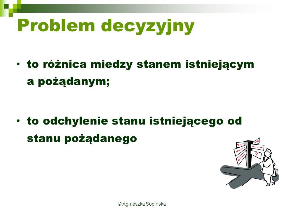 © Agnieszka Sopińska Racjonalność decyzji Decyzja racjonalna metodologicznie może być nieracjonalna rzeczowo.