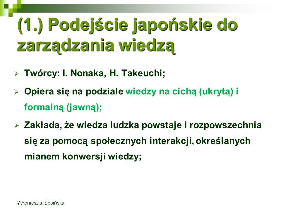 (1.) Podejście japońskie do zarządzania wiedzą  Twórcy: I.