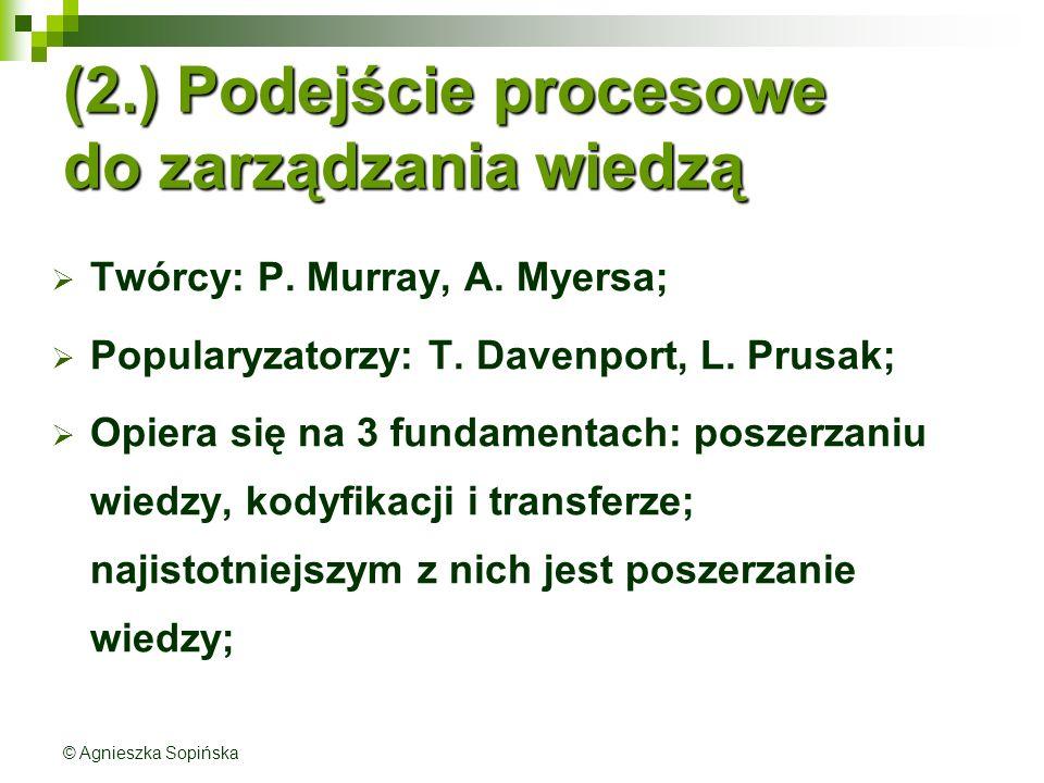 (2.) Podejście procesowe do zarządzania wiedzą  Twórcy: P.