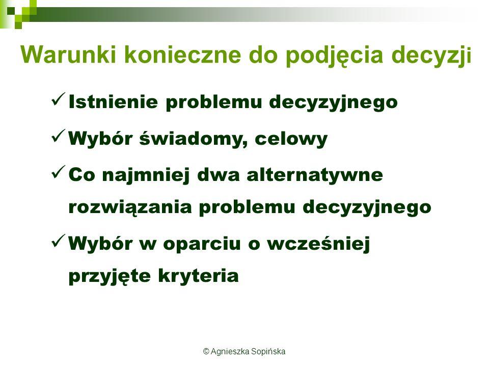 Każda informacja powinna być:  dokładna i prawdziwa  łatwo osiągalna i istotna dla sprawy  o odpowiedniej częstotliwości dopływu  o odpowiednim zasięgu czasowym  właściwie opisująca obszar zainteresowań  oryginalna  prezentowana w dogodnej dla odbiorcy formie © Agnieszka Sopińska