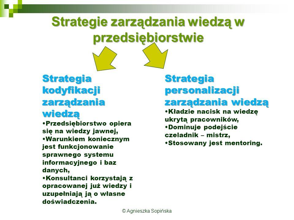 © Agnieszka Sopińska Strategie zarządzania wiedzą w przedsiębiorstwie Strategia kodyfikacji zarządzania wiedzą Przedsiębiorstwo opiera się na wiedzy jawnej, Warunkiem koniecznym jest funkcjonowanie sprawnego systemu informacyjnego i baz danych, Konsultanci korzystają z opracowanej już wiedzy i uzupełniają ją o własne doświadczenia.