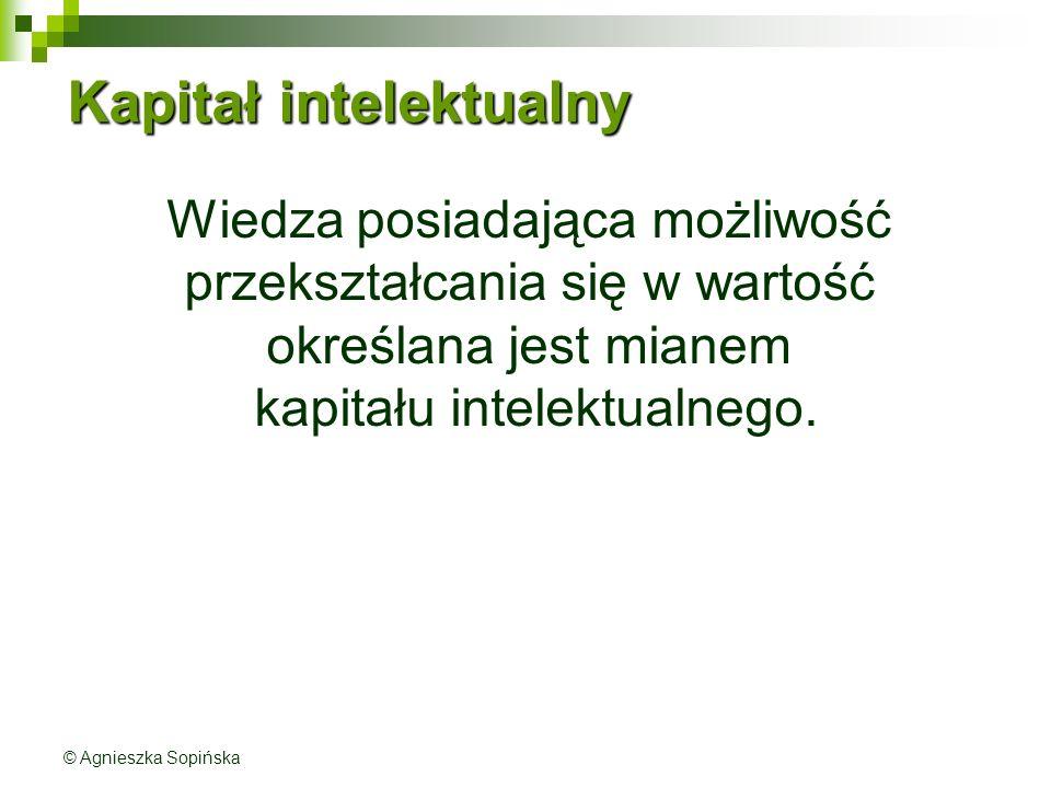 Kapitał intelektualny Wiedza posiadająca możliwość przekształcania się w wartość określana jest mianem kapitału intelektualnego.