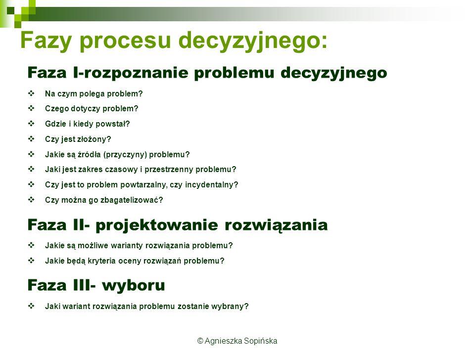 © Agnieszka Sopińska Fazy procesu decyzyjnego: Faza I-rozpoznanie problemu decyzyjnego  Na czym polega problem.