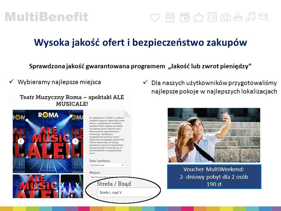 """MultiBenefit Wysoka jakość ofert i bezpieczeństwo zakupów Sprawdzona jakość gwarantowana programem """"Jakość lub zwrot pieniędzy"""" Dla naszych użytkownik"""
