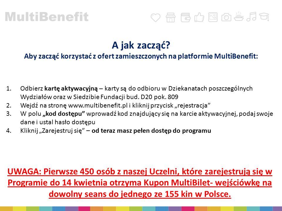 A jak zacząć? Aby zacząć korzystać z ofert zamieszczonych na platformie MultiBenefit: 1.Odbierz kartę aktywacyjną – karty są do odbioru w Dziekanatach
