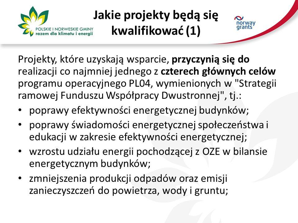 Jakie projekty będą się kwalifikować (1) Projekty, które uzyskają wsparcie, przyczynią się do realizacji co najmniej jednego z czterech głównych celów programu operacyjnego PL04, wymienionych w Strategii ramowej Funduszu Współpracy Dwustronnej , tj.: poprawy efektywności energetycznej budynków; poprawy świadomości energetycznej społeczeństwa i edukacji w zakresie efektywności energetycznej; wzrostu udziału energii pochodzącej z OZE w bilansie energetycznym budynków; zmniejszenia produkcji odpadów oraz emisji zanieczyszczeń do powietrza, wody i gruntu;