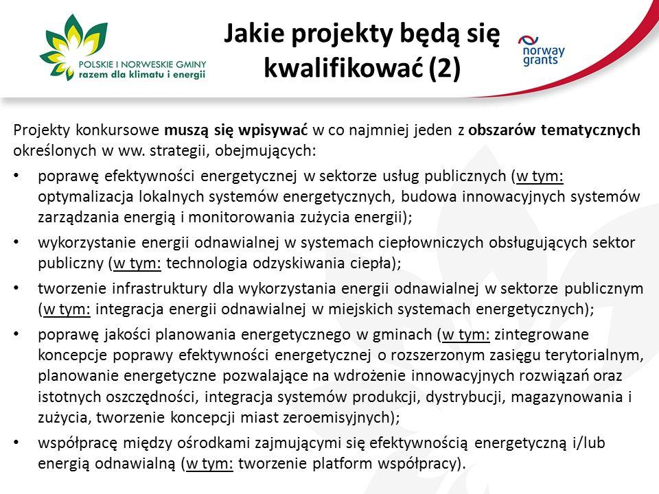Jakie projekty będą się kwalifikować (2) Projekty konkursowe muszą się wpisywać w co najmniej jeden z obszarów tematycznych określonych w ww.