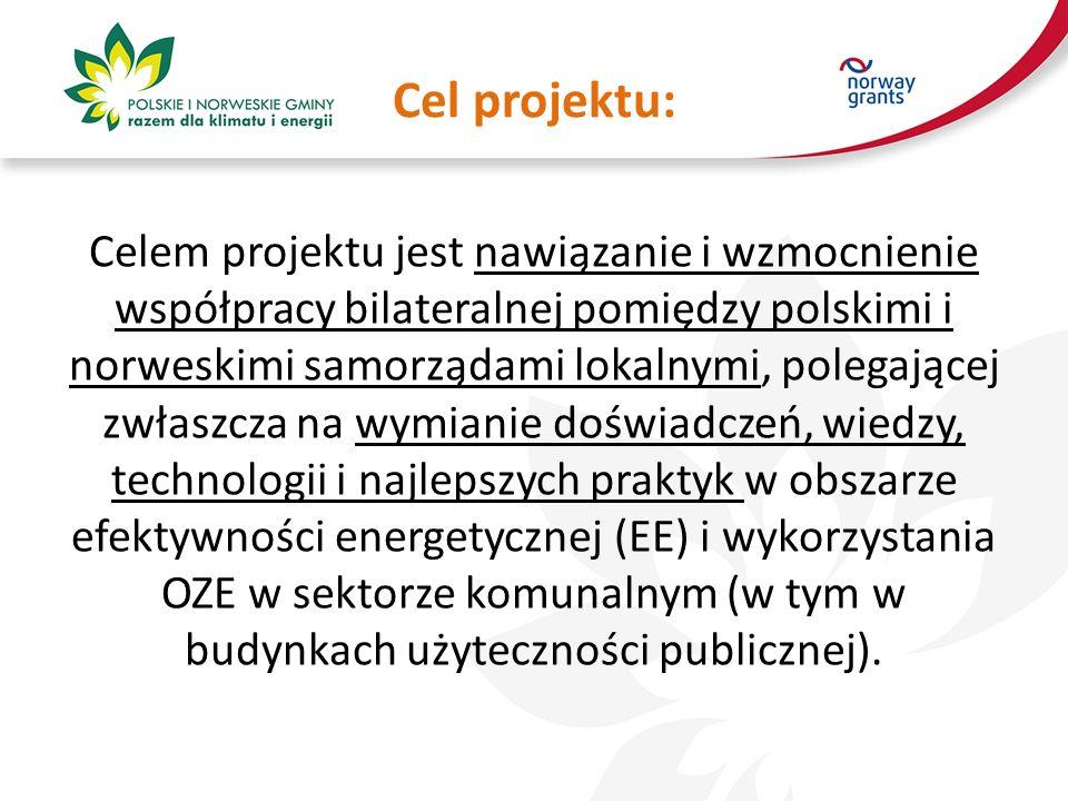 Cel projektu: Celem projektu jest nawiązanie i wzmocnienie współpracy bilateralnej pomiędzy polskimi i norweskimi samorządami lokalnymi, polegającej zwłaszcza na wymianie doświadczeń, wiedzy, technologii i najlepszych praktyk w obszarze efektywności energetycznej (EE) i wykorzystania OZE w sektorze komunalnym (w tym w budynkach użyteczności publicznej).
