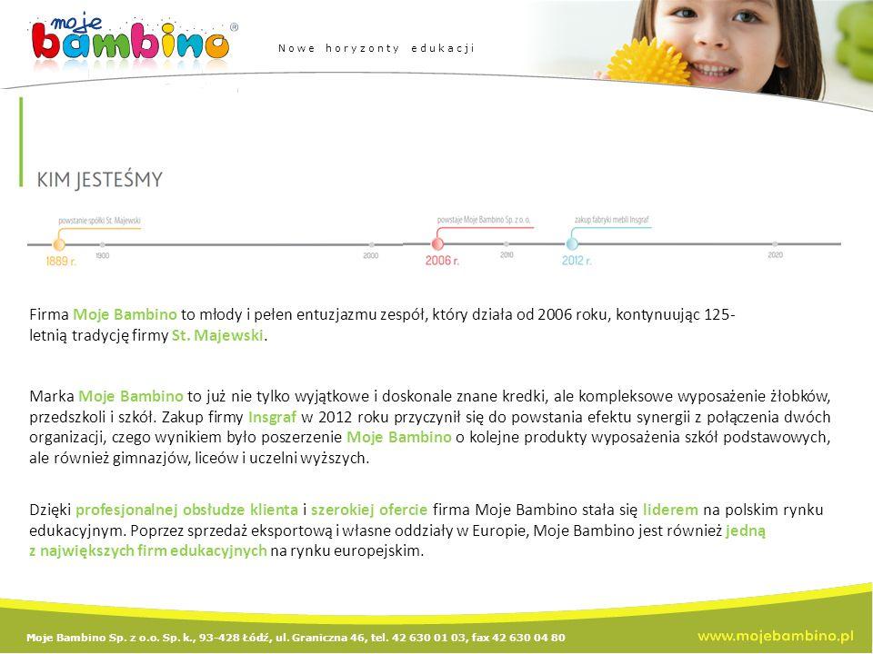 Moje Bambino Sp. z o.o. Sp. k., 93-428 Łódź, ul. Graniczna 46, tel. 42 630 01 03, fax 42 630 04 80 Nowe horyzonty edukacji Firma Moje Bambino to młody