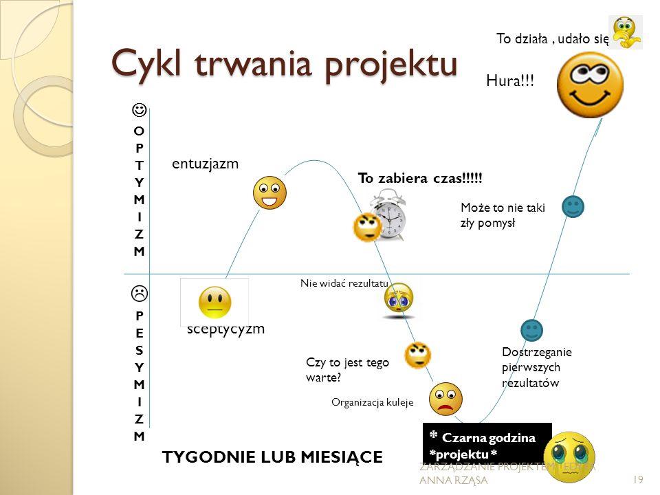 Cykl trwania projektu sceptycyzm entuzjazm To zabiera czas!!!!.