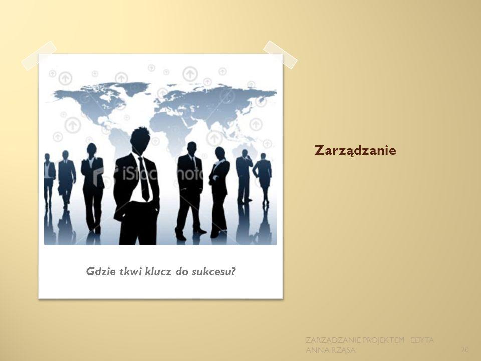 Zarządzanie Gdzie tkwi klucz do sukcesu? 20 ZARZĄDZANIE PROJEKTEM EDYTA ANNA RZĄSA