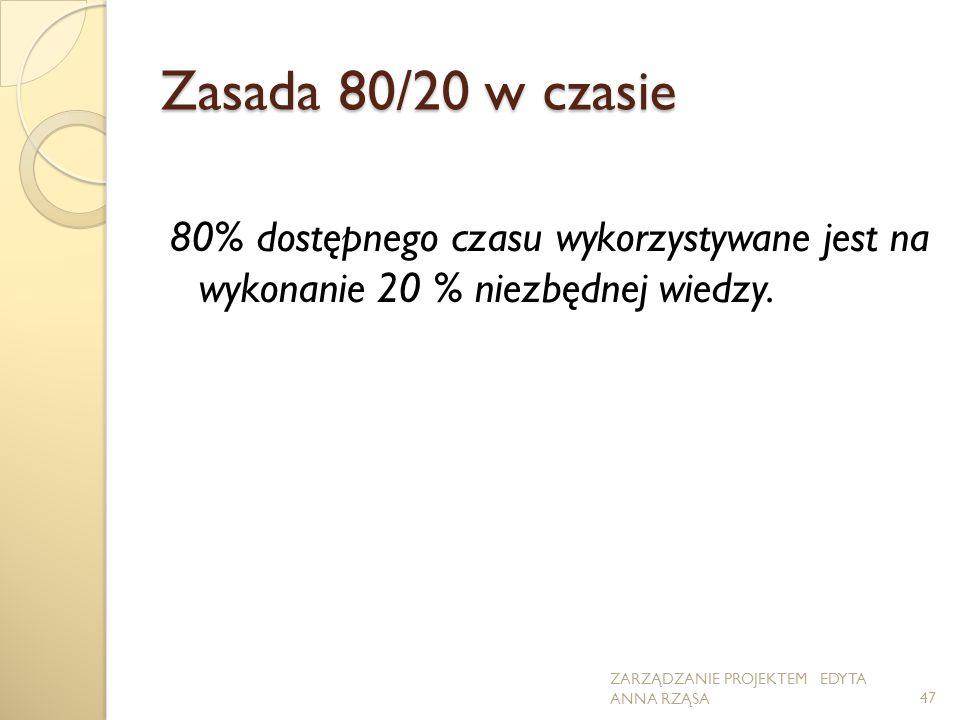 Zasada 80/20 w czasie 80% dostępnego czasu wykorzystywane jest na wykonanie 20 % niezbędnej wiedzy. ZARZĄDZANIE PROJEKTEM EDYTA ANNA RZĄSA47