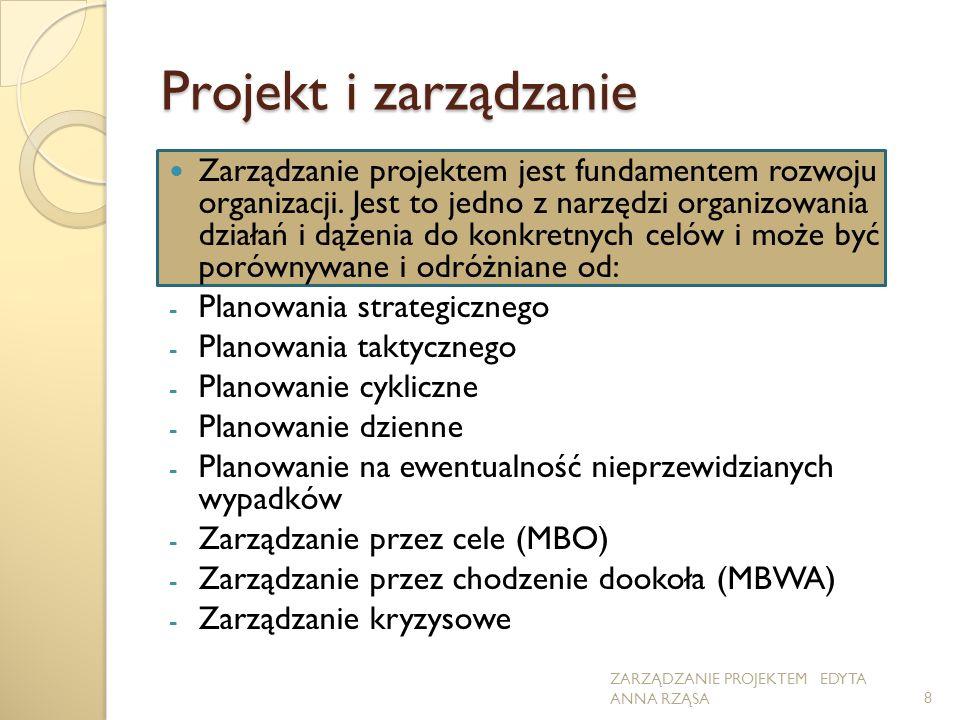 Projekt i zarządzanie Zarządzanie projektem jest fundamentem rozwoju organizacji. Jest to jedno z narzędzi organizowania działań i dążenia do konkretn