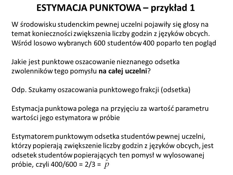 ESTYMACJA PUNKTOWA – przykład 1 W środowisku studenckim pewnej uczelni pojawiły się głosy na temat konieczności zwiększenia liczby godzin z języków obcych.