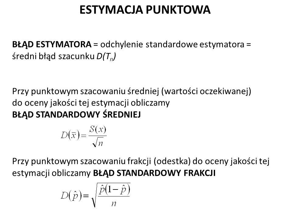 ESTYMACJA PUNKTOWA BŁĄD ESTYMATORA = odchylenie standardowe estymatora = średni błąd szacunku D(T n ) Przy punktowym szacowaniu średniej (wartości oczekiwanej) do oceny jakości tej estymacji obliczamy BŁĄD STANDARDOWY ŚREDNIEJ Przy punktowym szacowaniu frakcji (odestka) do oceny jakości tej estymacji obliczamy BŁĄD STANDARDOWY FRAKCJI