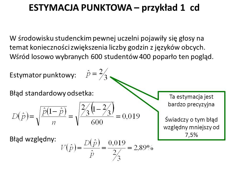 ESTYMACJA PUNKTOWA – przykład 1 cd W środowisku studenckim pewnej uczelni pojawiły się głosy na temat konieczności zwiększenia liczby godzin z języków obcych.