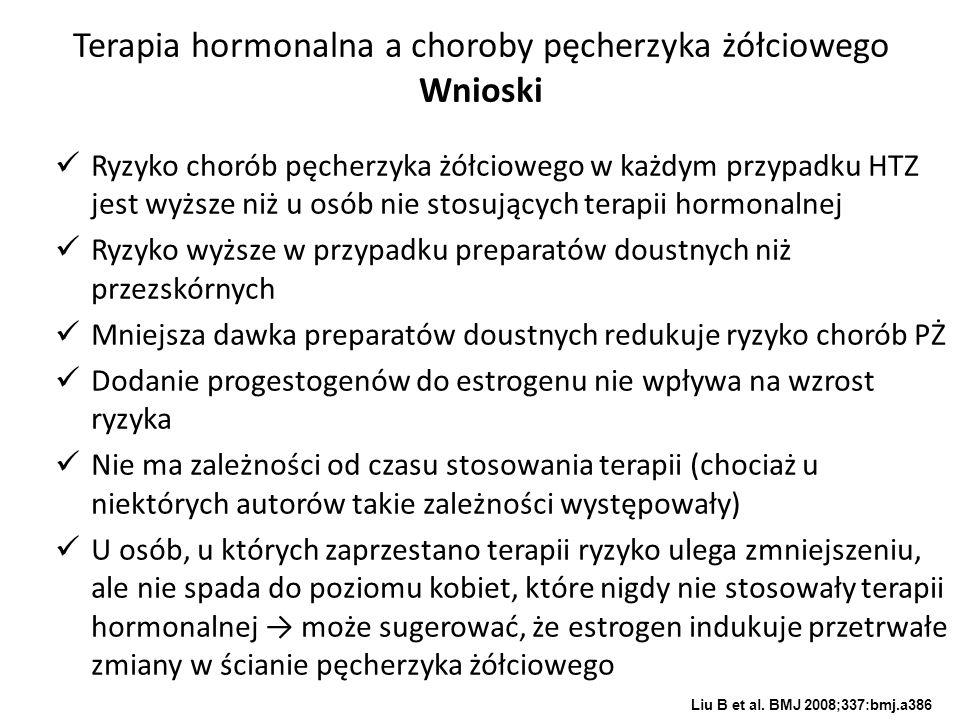Terapia hormonalna a choroby pęcherzyka żółciowego Wnioski Ryzyko chorób pęcherzyka żółciowego w każdym przypadku HTZ jest wyższe niż u osób nie stosu
