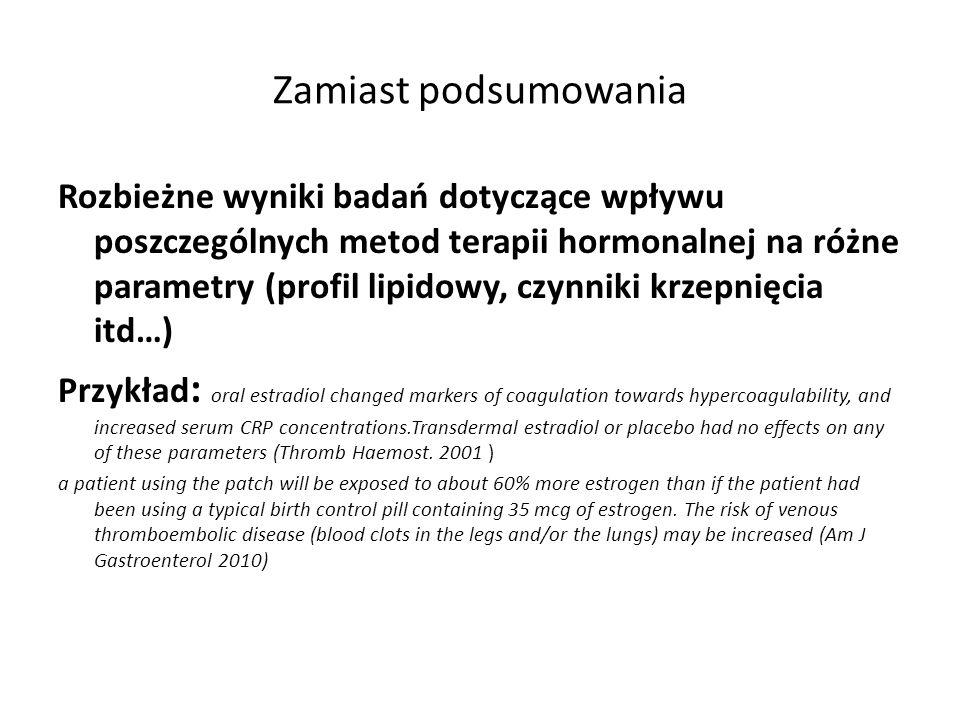 Zamiast podsumowania Rozbieżne wyniki badań dotyczące wpływu poszczególnych metod terapii hormonalnej na różne parametry (profil lipidowy, czynniki kr