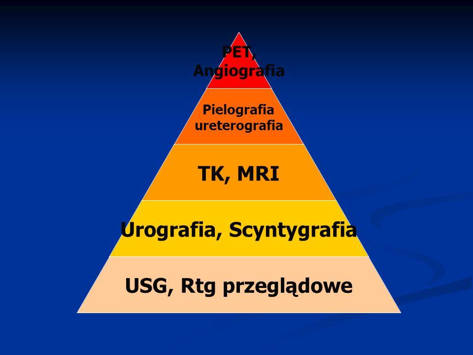 PET, Angiografia Pielografia ureterografia TK, MRI Urografia, Scyntygrafia USG, Rtg przeglądowe
