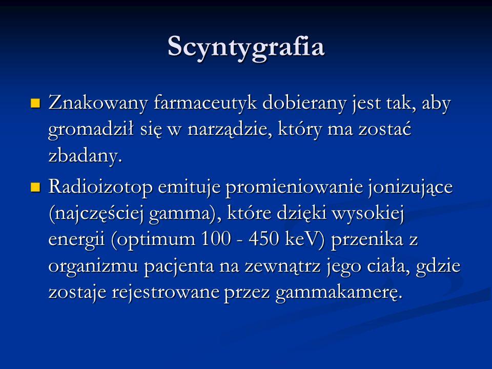 Scyntygrafia Znakowany farmaceutyk dobierany jest tak, aby gromadził się w narządzie, który ma zostać zbadany.