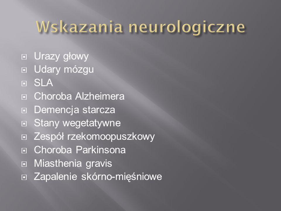  Urazy głowy  Udary mózgu  SLA  Choroba Alzheimera  Demencja starcza  Stany wegetatywne  Zespół rzekomoopuszkowy  Choroba Parkinsona  Miasthenia gravis  Zapalenie skórno-mięśniowe