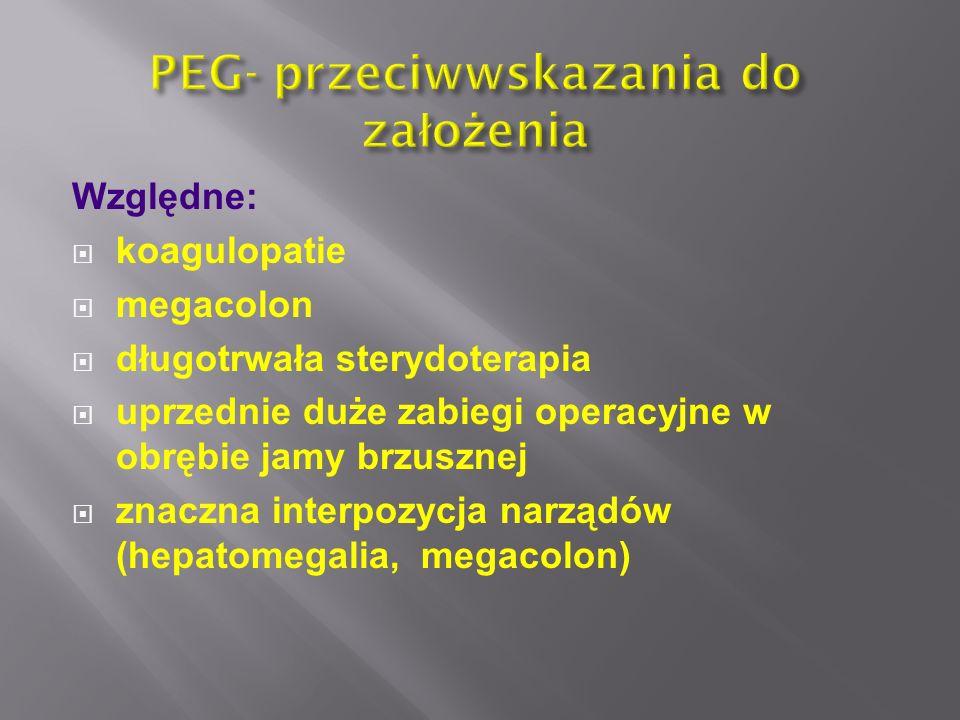 Względne:  koagulopatie  megacolon  długotrwała sterydoterapia  uprzednie duże zabiegi operacyjne w obrębie jamy brzusznej  znaczna interpozycja