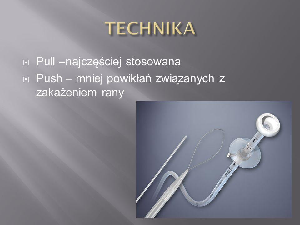  Pull –najczęściej stosowana  Push – mniej powikłań związanych z zakażeniem rany