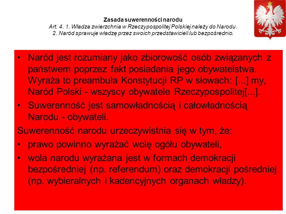 Zasada suwerenności narodu Art. 4. 1.