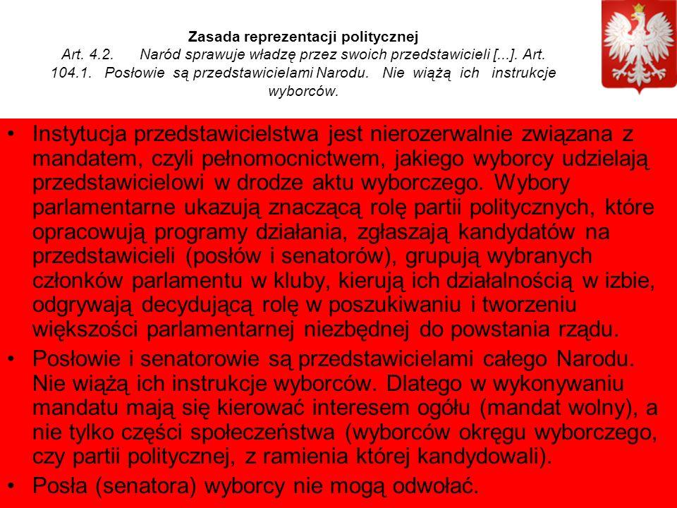 Zasada reprezentacji politycznej Art. 4.2.
