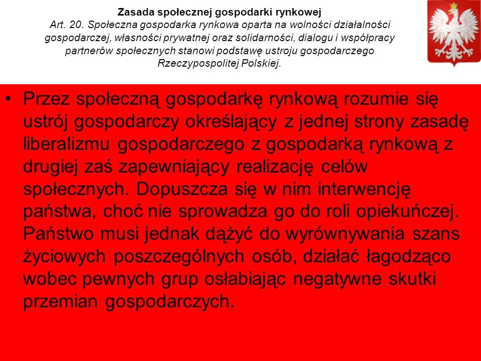 Zasada społecznej gospodarki rynkowej Art. 20.