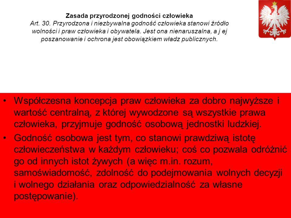 Zasada przyrodzonej godności człowieka Art. 30.