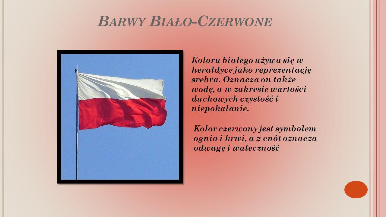 B ARWY B IAŁO -C ZERWONE Koloru białego używa się w heraldyce jako reprezentację srebra.