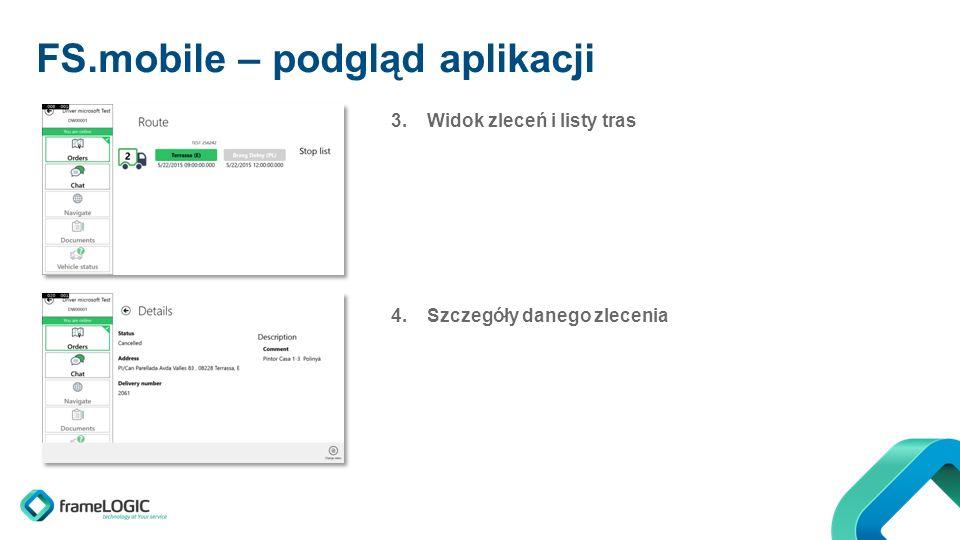 FS.mobile – podgląd aplikacji 3.Widok zleceń i listy tras 4.Szczegóły danego zlecenia