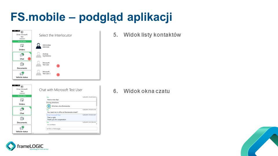 FS.mobile – podgląd aplikacji 5.Widok listy kontaktów 6.Widok okna czatu