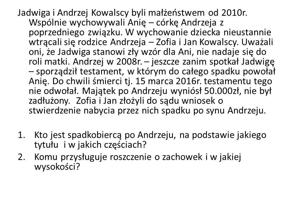 Jadwiga i Andrzej Kowalscy byli małżeństwem od 2010r.