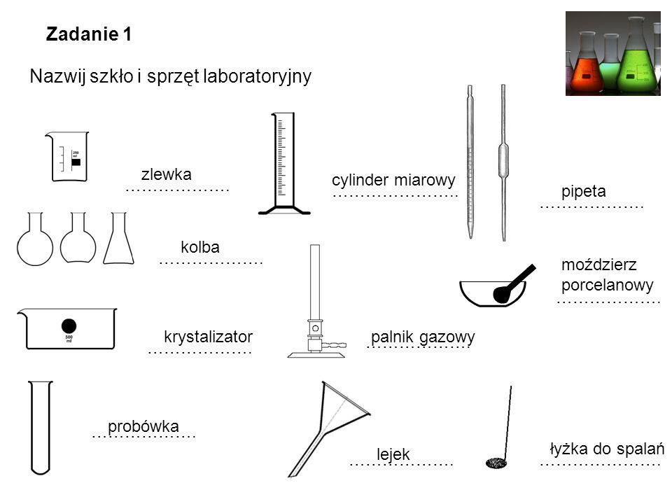 ………………. ………………….. ………………. ………………….………………. probówka kolba zlewka moździerz porcelanowy ………………. krystalizator Zadanie 1 Nazwij szkło i sprzęt laboratory