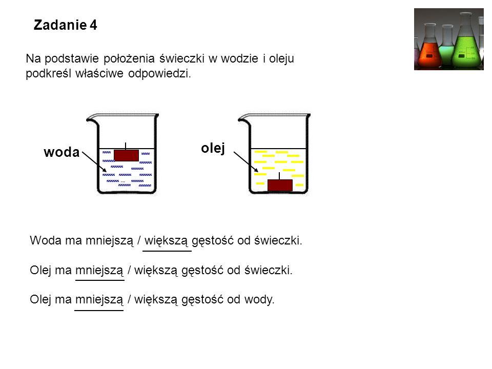 Zadanie 4 Na podstawie położenia świeczki w wodzie i oleju podkreśl właściwe odpowiedzi.