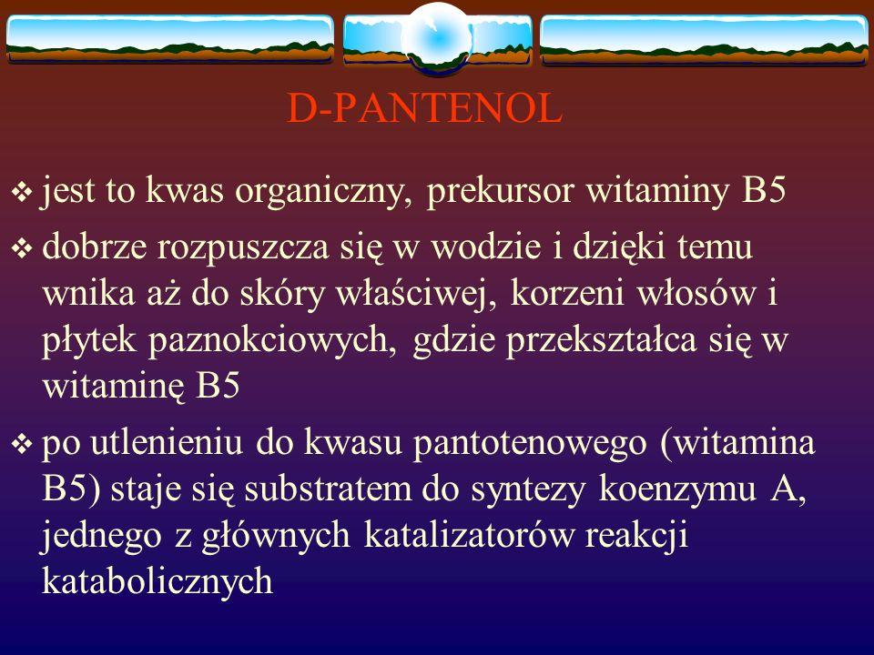 D-PANTENOL  jest to kwas organiczny, prekursor witaminy B5  dobrze rozpuszcza się w wodzie i dzięki temu wnika aż do skóry właściwej, korzeni włosów i płytek paznokciowych, gdzie przekształca się w witaminę B5  po utlenieniu do kwasu pantotenowego (witamina B5) staje się substratem do syntezy koenzymu A, jednego z głównych katalizatorów reakcji katabolicznych