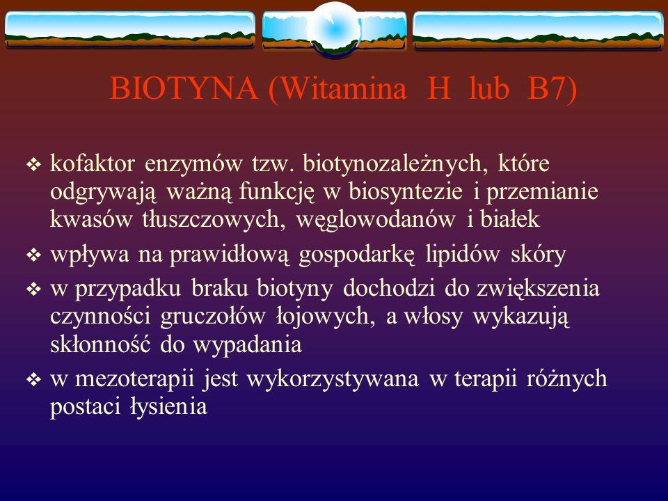 BIOTYNA (Witamina H lub B7)  kofaktor enzymów tzw.