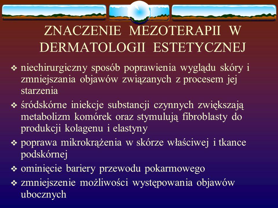 KWAS HIALURONOWY  polisacharyd należący do GAG  w skórze, jako główny składnik macierzy międzykomórkowej bierze udział w proliferacji, migracji i różnicowaniu keratynocytów  silny absorbent wody śródnaskórkowej, poprawia nawilżenie, napięcie i elastyczność skóry  przeciwutleniacz  stosowany do odmładzania skóry w każdej okolicy ciała