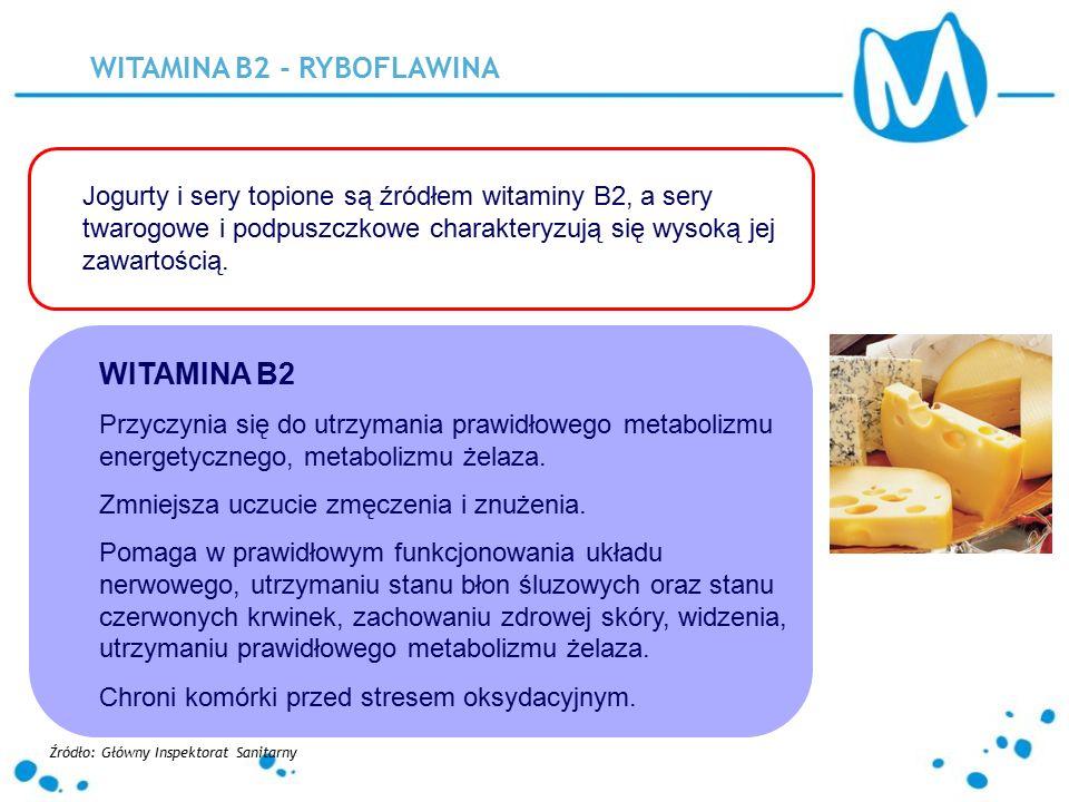 WITAMINA B2 - RYBOFLAWINA Jogurty i sery topione są źródłem witaminy B2, a sery twarogowe i podpuszczkowe charakteryzują się wysoką jej zawartością. W