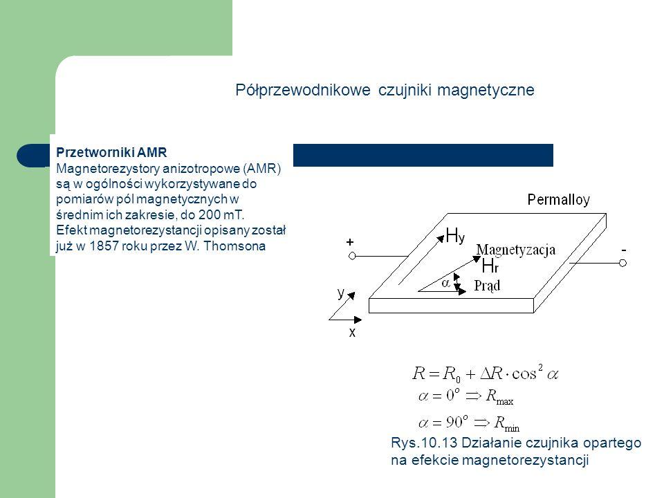 Półprzewodnikowe czujniki magnetyczne Przetworniki AMR Magnetorezystory anizotropowe (AMR) są w ogólności wykorzystywane do pomiarów pól magnetycznych w średnim ich zakresie, do 200 mT.