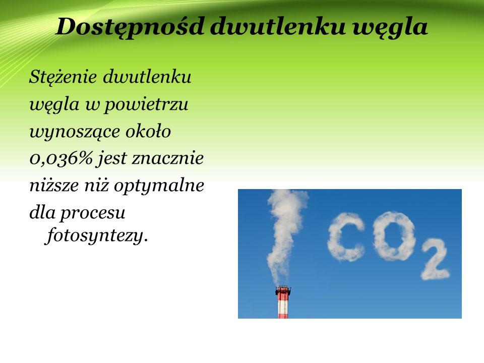 Dostępnośd dwutlenku węgla Stężenie dwutlenku węgla w powietrzu wynoszące około 0,036% jest znacznie niższe niż optymalne dla procesu fotosyntezy.