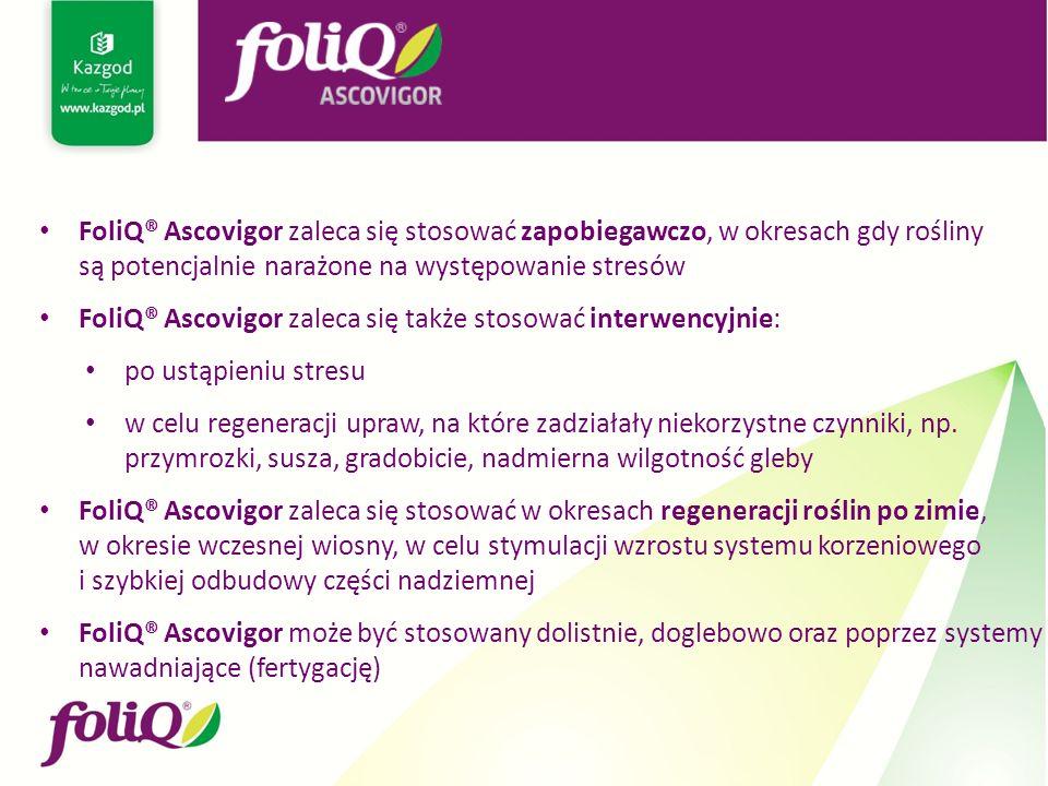 FoliQ® Ascovigor zaleca się stosować zapobiegawczo, w okresach gdy rośliny są potencjalnie narażone na występowanie stresów FoliQ® Ascovigor zaleca się także stosować interwencyjnie: po ustąpieniu stresu w celu regeneracji upraw, na które zadziałały niekorzystne czynniki, np.
