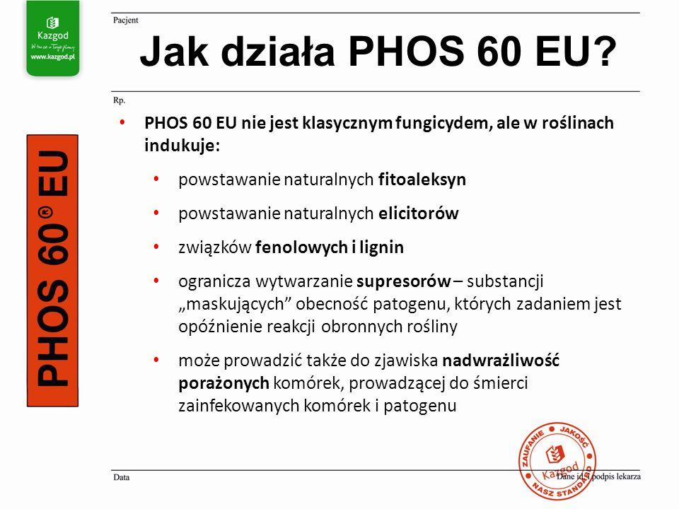 """PHOS 60 EU nie jest klasycznym fungicydem, ale w roślinach indukuje: powstawanie naturalnych fitoaleksyn powstawanie naturalnych elicitorów związków fenolowych i lignin ogranicza wytwarzanie supresorów – substancji """"maskujących obecność patogenu, których zadaniem jest opóźnienie reakcji obronnych rośliny może prowadzić także do zjawiska nadwrażliwość porażonych komórek, prowadzącej do śmierci zainfekowanych komórek i patogenu Jak działa PHOS 60 EU"""