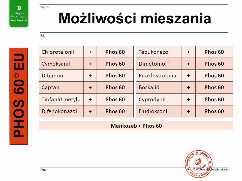 Możliwości mieszania Chlorotalonil+Phos 60 Cymoksanil+Phos 60 Ditianon+Phos 60 Captan+Phos 60 Tiofanat metylu+Phos 60 Difenokonazol+Phos 60 Tebukonazol+Phos 60 Dimetomorf+Phos 60 Piraklostrobina+Phos 60 Boskalid+Phos 60 Cyprodynil+Phos 60 Fludioksonil+Phos 60 Mankozeb + Phos 60