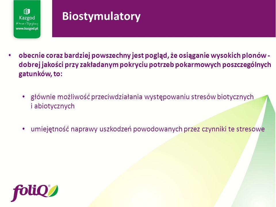 obecnie coraz bardziej powszechny jest pogląd, że osiąganie wysokich plonów - dobrej jakości przy zakładanym pokryciu potrzeb pokarmowych poszczególnych gatunków, to: głównie możliwość przeciwdziałania występowaniu stresów biotycznych i abiotycznych umiejętność naprawy uszkodzeń powodowanych przez czynniki te stresowe Biostymulatory