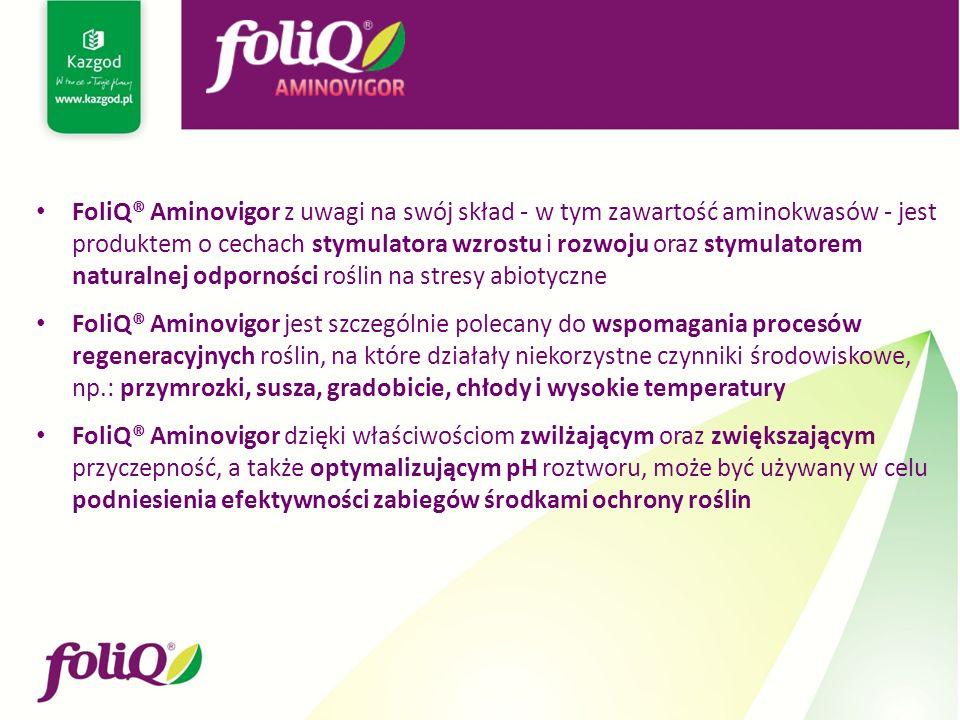 FoliQ® Aminovigor z uwagi na swój skład - w tym zawartość aminokwasów - jest produktem o cechach stymulatora wzrostu i rozwoju oraz stymulatorem natur